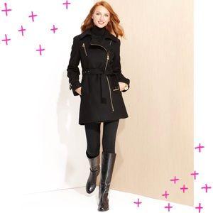 Michael Kors zip collar black trench coat size M